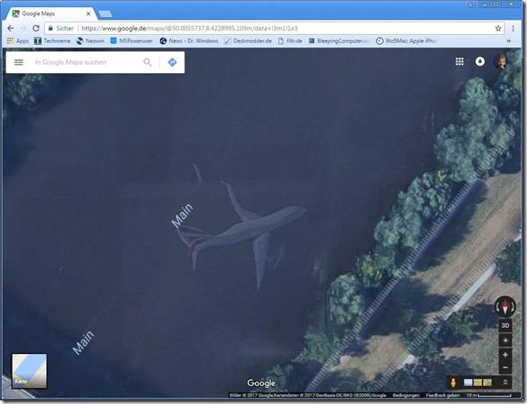 Main, Flörsheim, Flugzeug, Google Maps